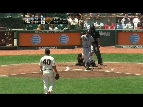 SD@SF: Benches empty after Bumgarner throws inside