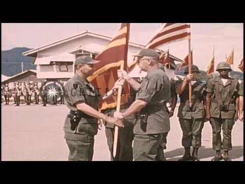 Change of Command I FFV (First Field Force Vietnam)-ARTY (Artillery Men) in Nha T...HD Stock Footage