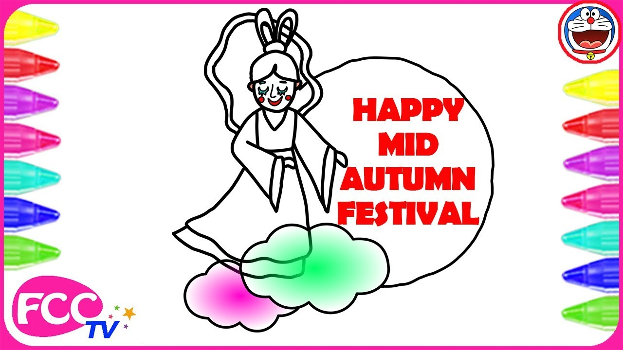 mid autumn festival coloring page how to draw the moon lady