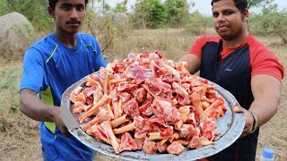 LARGE QUANTITY AFRICAN GOAT BONE PEPPER SOUP MAKING IN THE JUNGLE || RANGERS COOKING