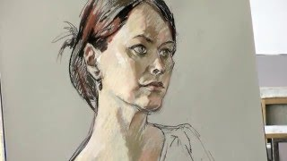 Portrait drawing from life in pastel technique