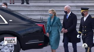 President Joe Biden and Vice President Kamala Harris depart the U.S. Capitol