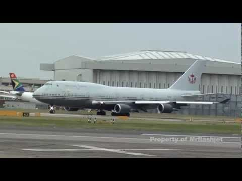 Brunei Sultan's Flight 747-400 {V8-ALI} FLIGHT DEPARTURE Plane Spotting at London Heathrow