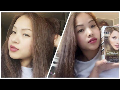 How to dye Asian hair-Black Hair to Ash Brown / Loreal UL61 2016