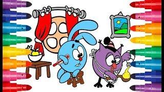 Смешарики игра Крош и Совунья раскраска для детей