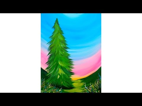 INCREDIBLY EASY BEGINNER Tree  Acrylic Painting tutorial Step by step