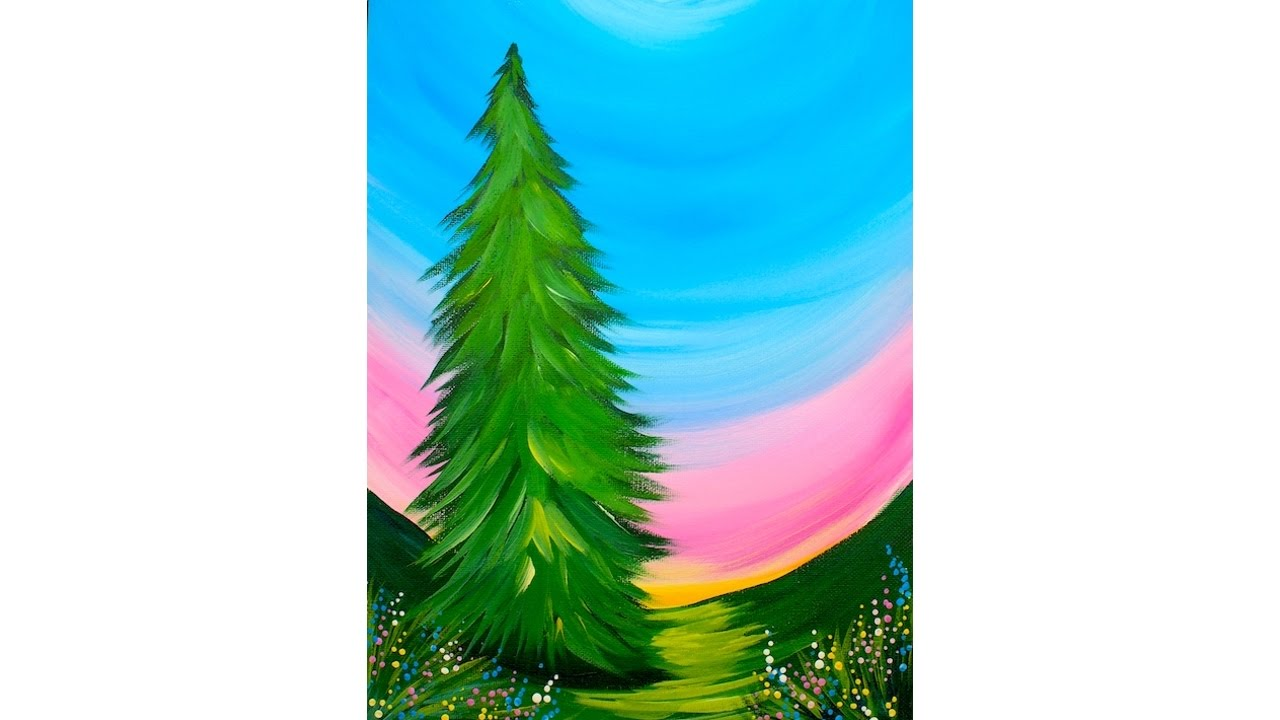 Incredibly easy beginner tree acrylic painting tutorial for Acrylic painting for beginners step by step