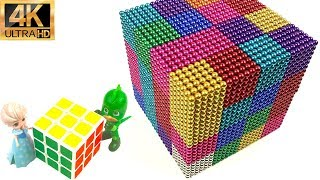 DIY How To Make Rainbow Giant Rubik's Cube with Magnetic Balls | Magnetic Balls Stop Motion
