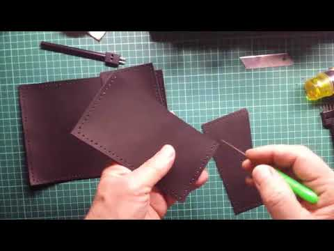 Работа с кожей. Шьём обложку для паспорта из кожи. Видеоурок. Часть1.