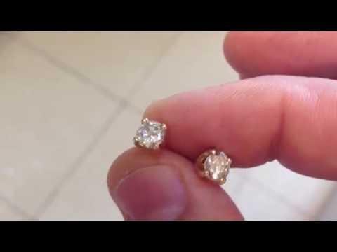 1,24карата золотые серьги с бриллиантами