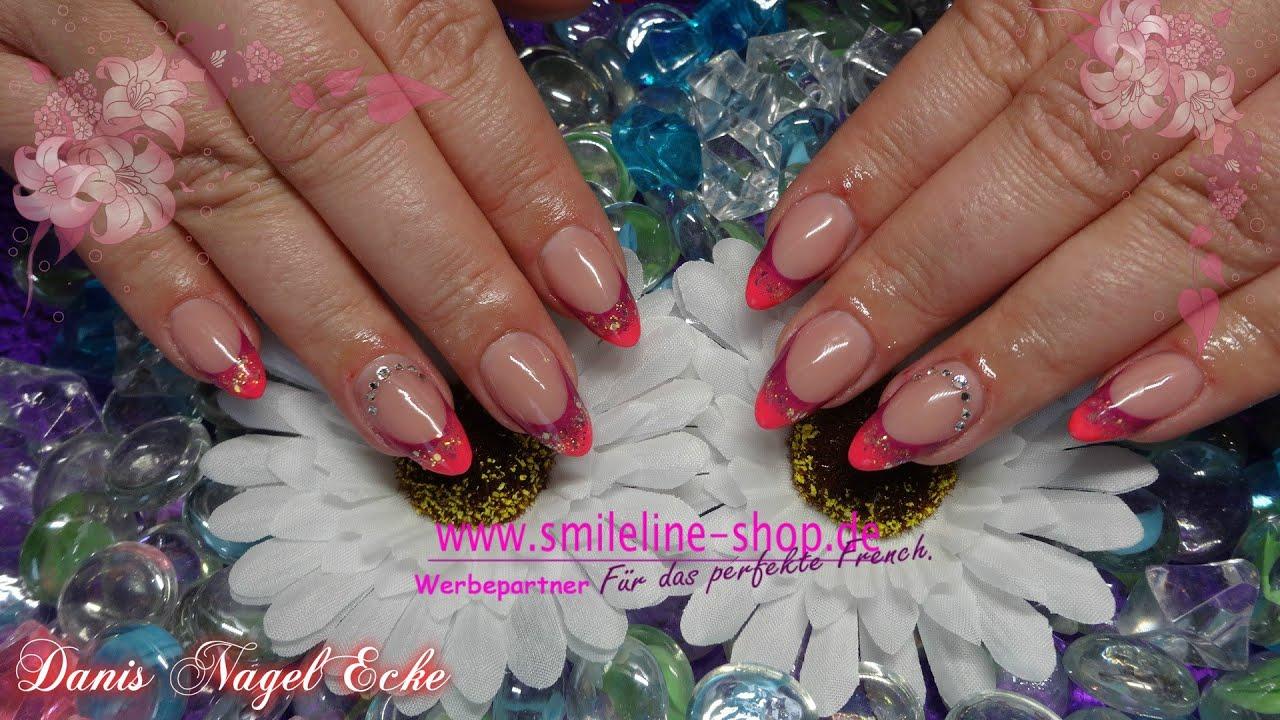 Gelnägel Mandel mit Farbverlauf / Almond nails with 2 colors - YouTube