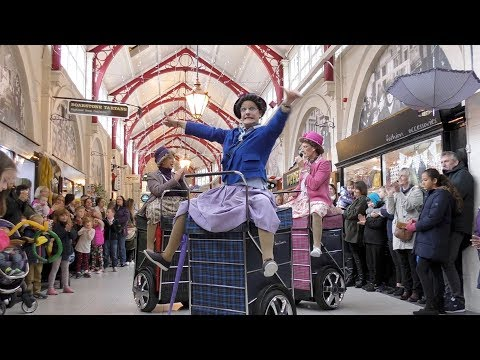 Granny Turismo shopping trolly dance routine in Inverness Victoria Market, Scotland, Oct 2017