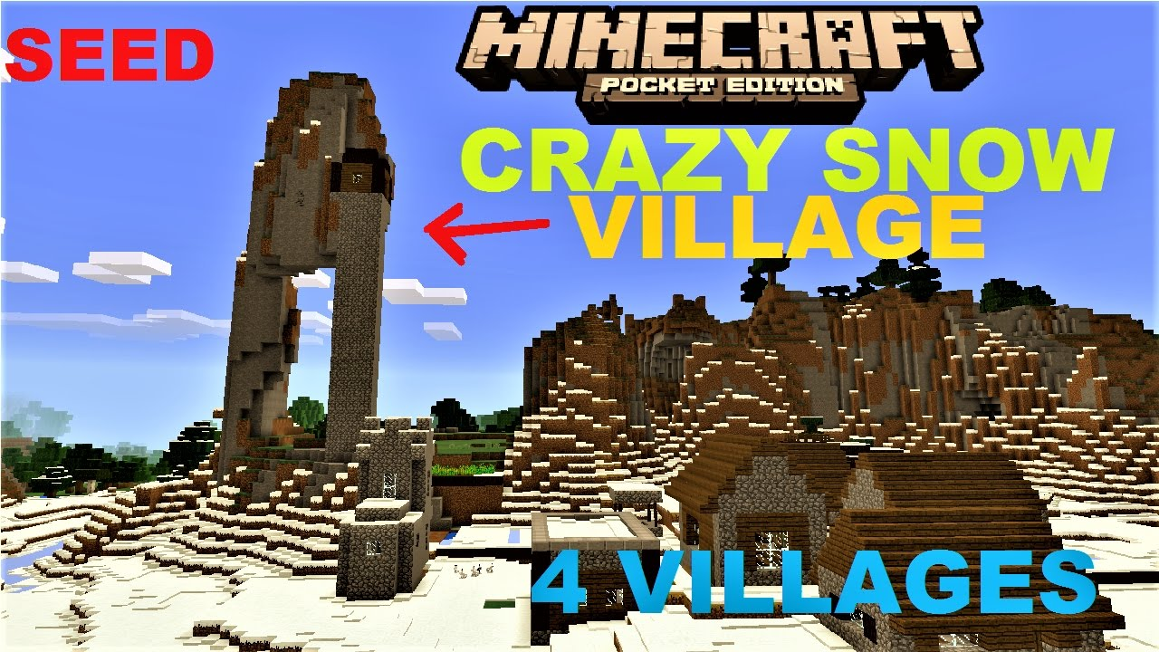 Mcpe 100 Crazy Mountain Snow Village Seed 4 Snow Villages 3