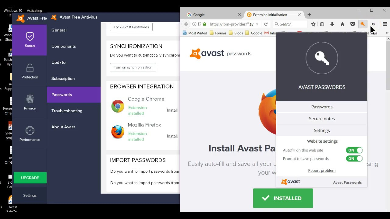 avast passwords wont load