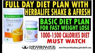 FULL DAY DIET PLAN FOR FAST WEIGHT LOSE WITH HERBALIFE SHAKE AND AFRESH