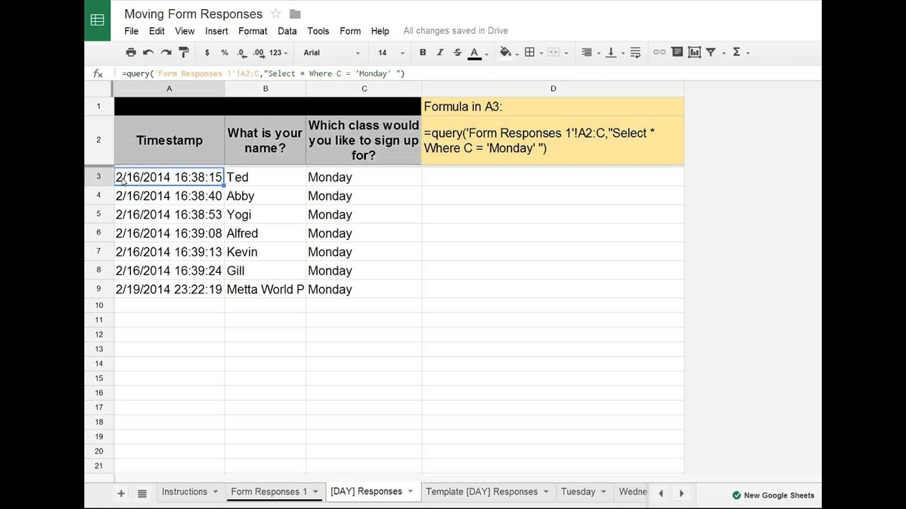 Google SheetsForms Tip Moving Google Forms Data to Separate – Google Worksheet