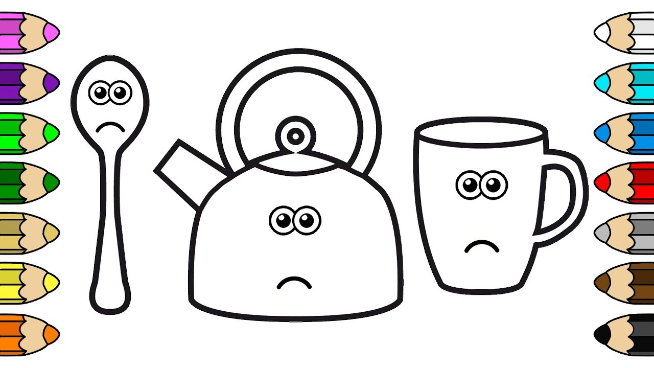 Coloring for Baby with Crying Kettle, Mug & Spoon - Coloring Pages ...