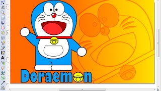 How to Draw Doraemon wallpaper in Inkscape (part 1)