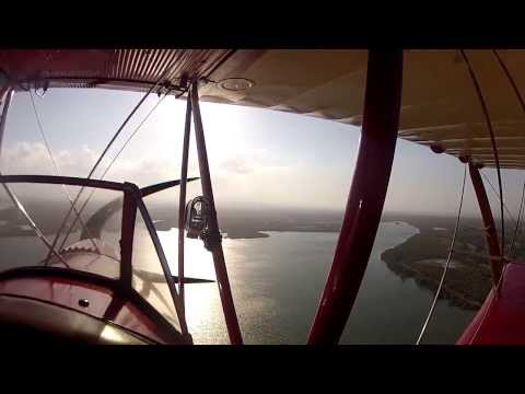 Scenic Tiger Moth flight with Antique Airways over Redcliffe, Australia.