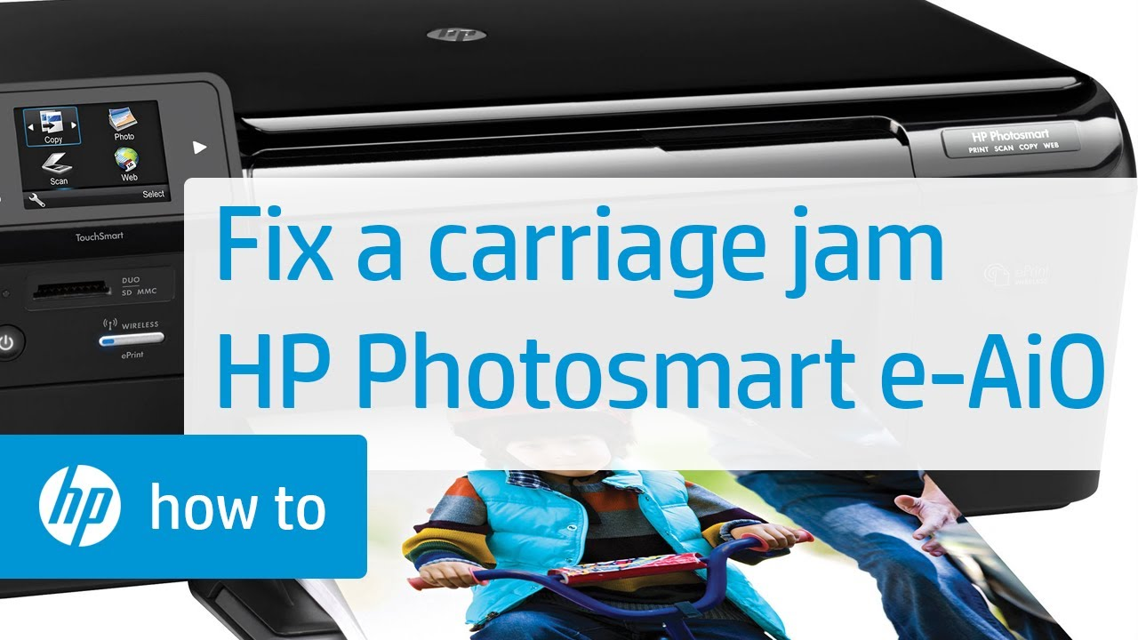 fixing a carriage jam hp photosmart e all in one printer d110a hp photosmart hp youtube [ 1280 x 720 Pixel ]