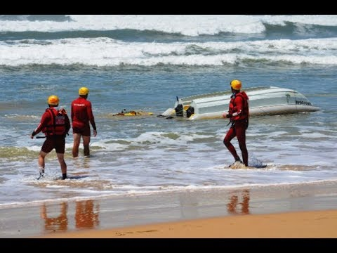Boat capsizes in huge swells at Port Alfred