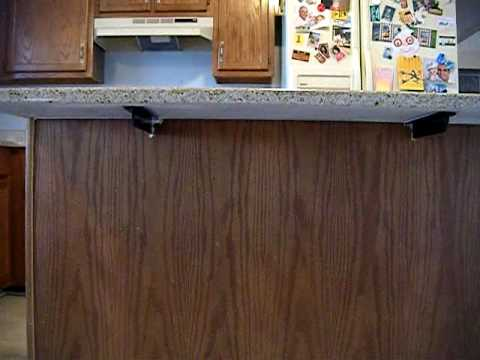 Counter top support granite island youtube How to support granite overhang