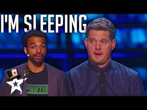 Disappointing Hypnotist Act FAILS to Put Michael Buble To Sleep! | Magicians Got Talent