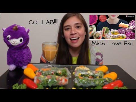 FRESH VEGGIE SPRING ROLLS  MUKBANG | COLLAB W/ Mich Love Eat ASMR | Crunchy Bites