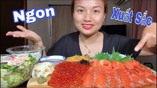 🇯🇵Triệu Like Cho Set Sashimi Cá Hồi,Trứng Cá Hồi,Cầu Gai Sống Chấm Tương Wasabi & Salat Tôm #261