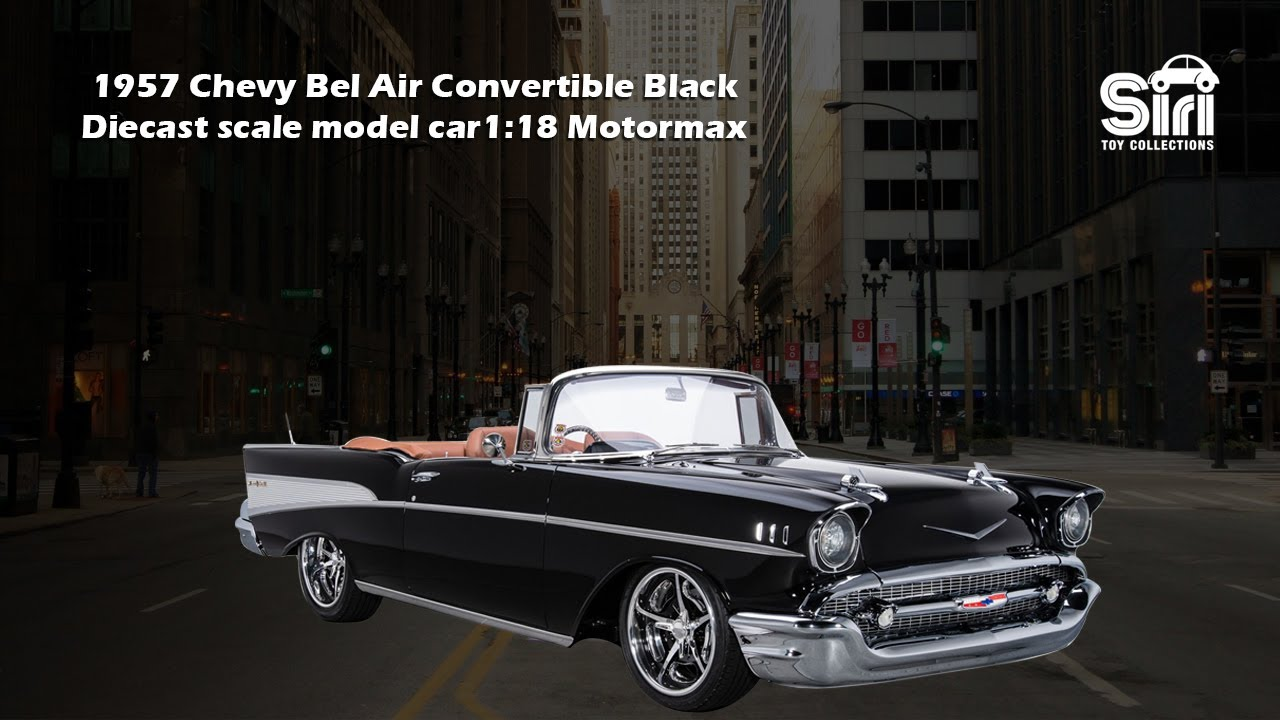 1957 Chevy Bel Air Convertible Black 1:18 Motormax Diecast scale model car