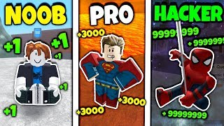 NOOB vs PRO vs HACKER *FUNNY* (Roblox Super Power Training Simulator Version)
