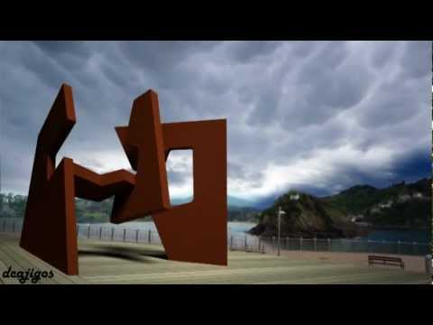 Desprendimiento de roca sobre obra Jorge Oteiza.