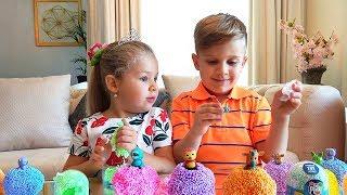 Рома и Диана играют Шариковым Пластилином Play Foam Pals