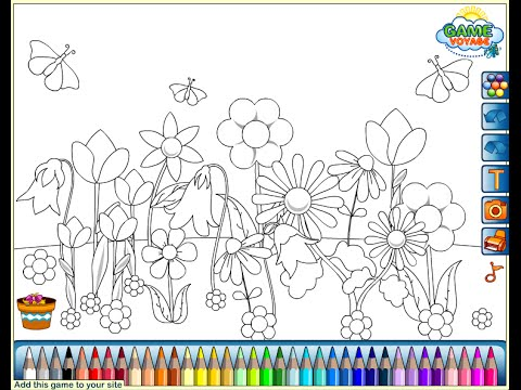 Flower Garden Coloring Pages For Kids - Flower Garden Coloring Pages ...