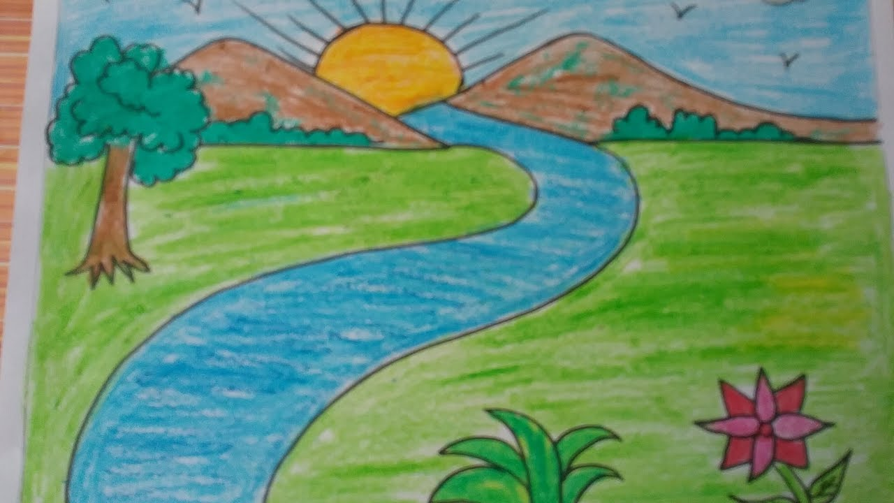 How to draw a landscape kids drawingmountainsdrawing with basic