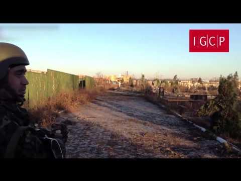 IGCP. Артиллерия сил АТО разрушает кладбище Свято-Иверского монастыря. Донецк, 29 октября. 18+