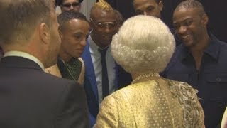 The Queen jokes with JLS about her TV dinners backstage at the Diamond Jubilee concert
