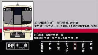【走行音】京王電鉄8000系(8022/東芝VVVF) 高尾山口⇒北野