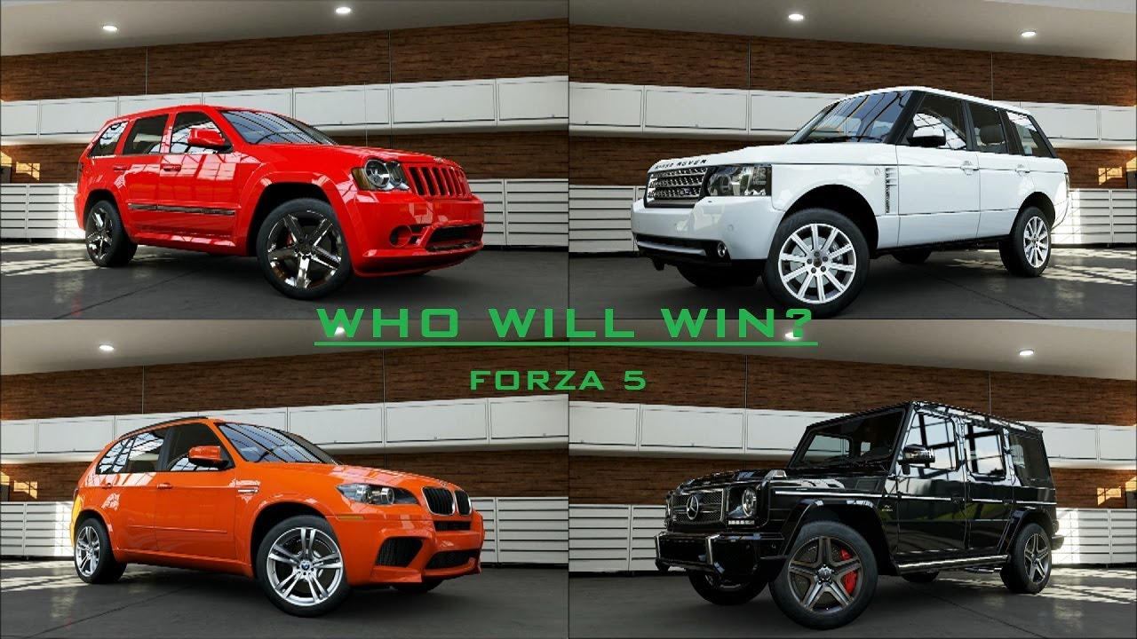 Forza 5 Benz G65 AMG Vs BMW X5 M Vs Land Rover Vs SRT8