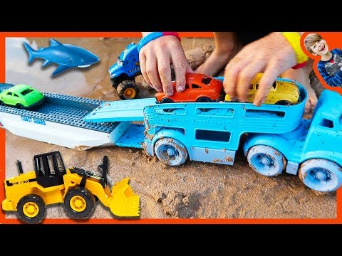 Car Toy Videos for Kids - Construction Trucks Make Road for Car Carrier + Monster Truck Tow Truck