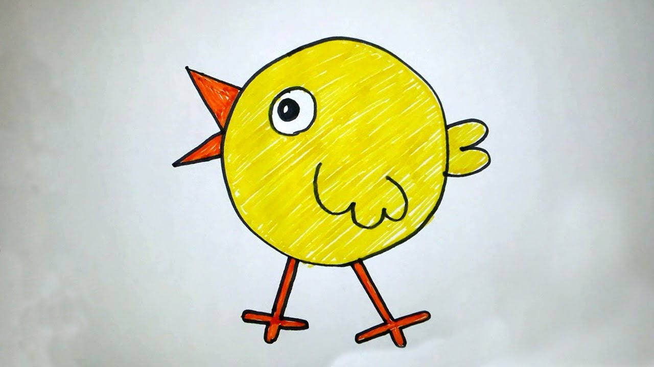 How to draw cute chick step by step for kids - lesson 2 ...