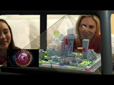 Holographic pyramid creates a world on your table - BBC Click