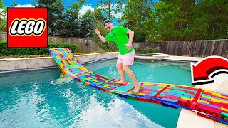 BUILDING A 50FT LEGO BRIDGE ACROSS MY POOL!