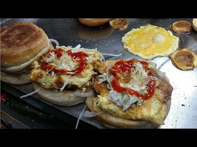 Special Egg Burger - Bun Kabab at Bahadurabad Street Food of Karachi Pakistan