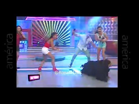 """Caída en vivo de Bibian Arango en """"Al Aire"""" - América Televisión"""