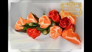 ОСЕННИЙ ОБОДОК с розами🌹Маленькие РОЗЫ из атласной ленты🌹Headband with roses