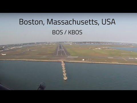 Cockpit View Boeing 757 Landing At Boston, USA