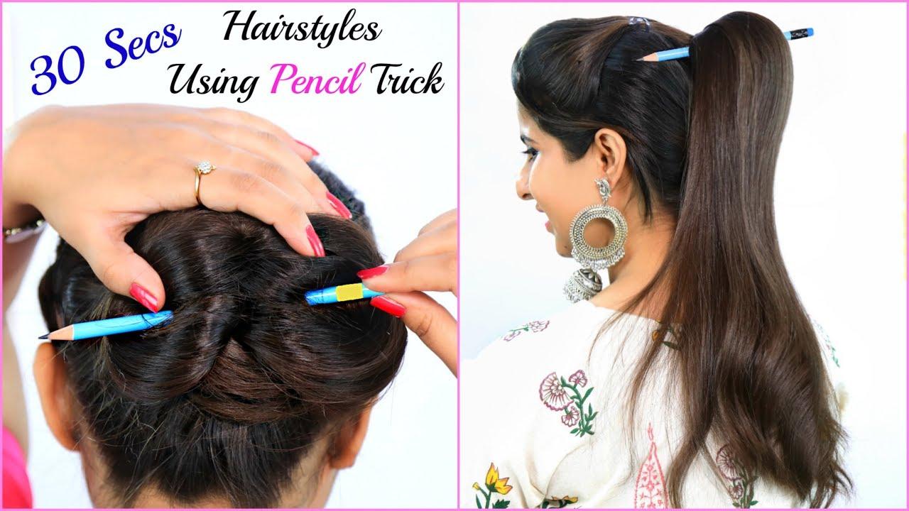 न Clutcher न Bun Stick बस PENCIL से Hairstyles बनायें - Teenager's Everyday Hairstyles   Anaysa
