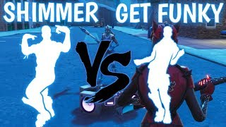 FORTNITE GET FUNKY EMOTE VS SHIMMER EMOTE!!!