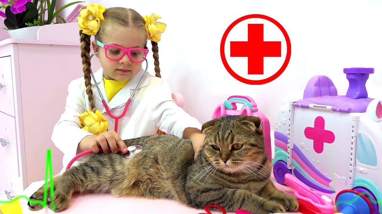Диана учится ухаживать за котёнком / новые серии